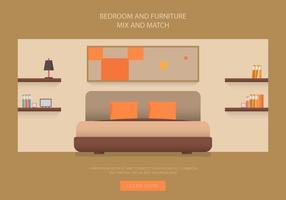 Cabecera Dormitorio y Muebles Vectores