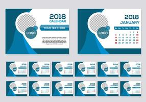 Blue 2018 Calendar Desk Vector