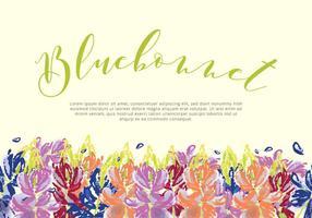 Vector de cartão de jardim de bluebonnet
