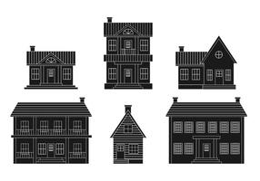 Colonial house vector set