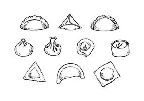 Livre Dumplings Hand Drawn Collection Vector