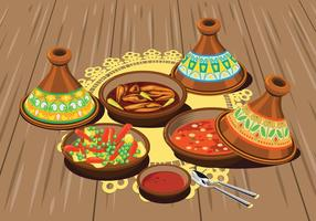 Illustration of Sambal Chicken Tajine Served with Olives and Vegetable Tajine with Rice and Tomato Sauce