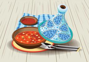Illustration av Sambal Chicken Tajine Serveras med Oliver, i en Rustik Vacker Tagine Pot