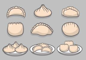 Dumplings hand drawn vector set