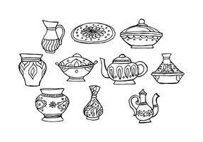 Vajilla oriental libre de los platos musulmanes del vector