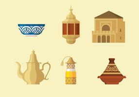 Tajine marockanska uppsättning fri vektor