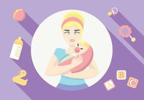 Mama Zorg voor Haar Crying Baby Vector