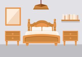 Kostenloses Schlafzimmer mit Bedside Console Vector