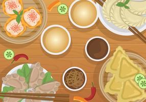 Dumplings para el vector de la cena