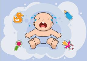 Crying Baby with Baby Elements Vectors