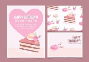 Tarjeta de la torta de cumpleaños del vector