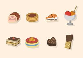 Vecteurs de desserts plats