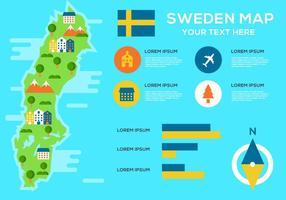 Mapa libre de Suecia Infographic Vector
