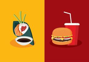 Temaki VS Fast Food Vector