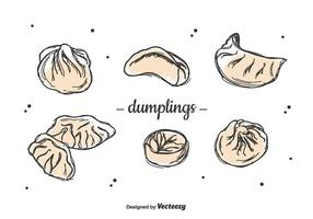Ensemble de dumplings dessiné à la main