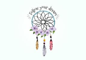 Boho Dream Catcher Con Plumas Y Púrpura Flores Vector