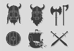 Flat Sticker Viking Set vector