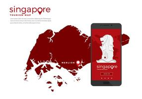 Singapore Tourism Map App Free Vector