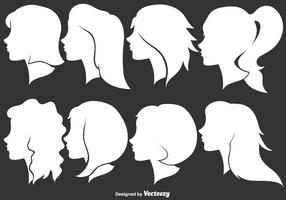 Kvinna Profil Silhuetter - Vektor Illustration