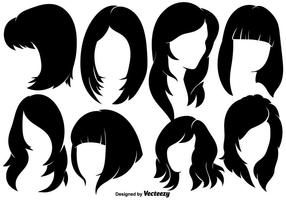 Beautiful Woman With Hairstyles Silhouettes - Vector elements