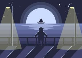 Boardwalk Nacht Illustratie Vector