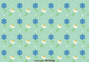 Blubonnet And Camomile Flowers Pattern Vector