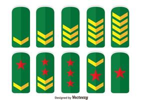 Green Army Rank Collection Vector