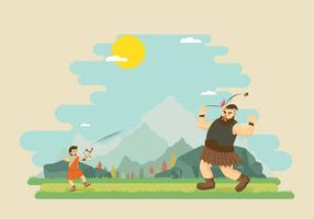 Free David Fighting With Goliath Illustration vector