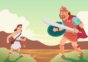 Battle Of David And Goliath vector