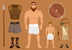 David En Goliath Set Gratis Vector