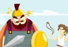 David and Goliath Illustration vector