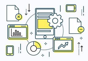 Elementos vetoriais lineares de dados digitais gratuitos