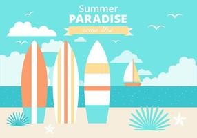 Free Flat Design Vektor Sommer Urlaub Illustration