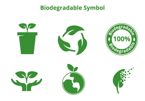 Vectores de símbolos biodegradables