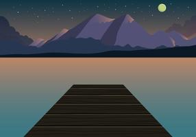 Sunset Mountain Landscape Vector
