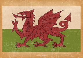 Ancien drapeau grunge du pays de Galles