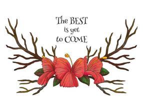 Corni dell'acquerello con fiori rossi e vettore di citazione motivazionale