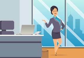 Geschäftsfrau Am Büro Vektor