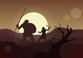 David and Goliath Free Vector