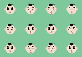 Vetores de expressão facial do bebê