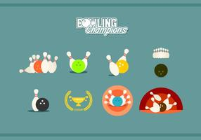 Flat Bowling Champions Free Vector