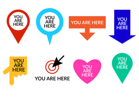 Set Of You Are Here Symbol Vector