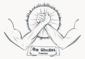 Sketched Arm Wrestling Illustration Template vector
