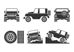 Offroad, coche, vectores, Conjunto
