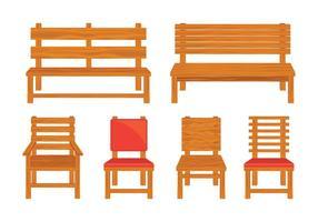 Vetores de cadeira de gramado de madeira