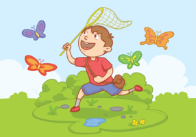 Boy with Butterfly Net Vector Illustration