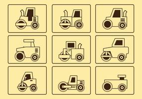 Conjunto de ícones da linha do rolo da estrada