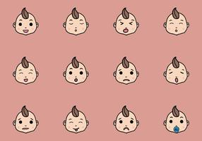 Set Of Cute Baby Emoticon Vectors