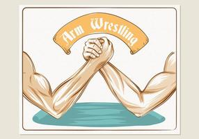 Bunte Arm Wrestling Illustration Schablone