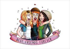 Três bonitos amigos amigos juntos Vector